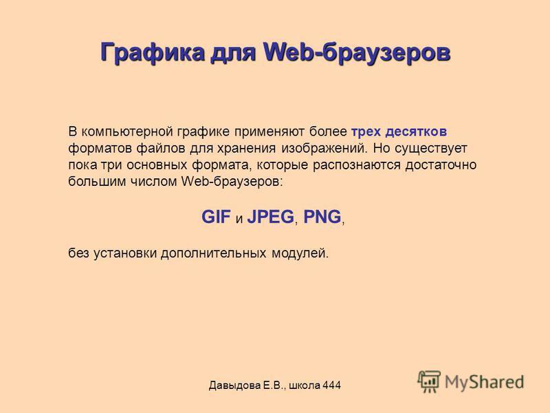 Давыдова Е.В., школа 444 Графика для Web-браузеров В компьютерной графике применяют более трех десятков форматов файлов для хранения изображений. Но существует пока три основных формата, которые распознаются достаточно большим числом Web-браузеров: G