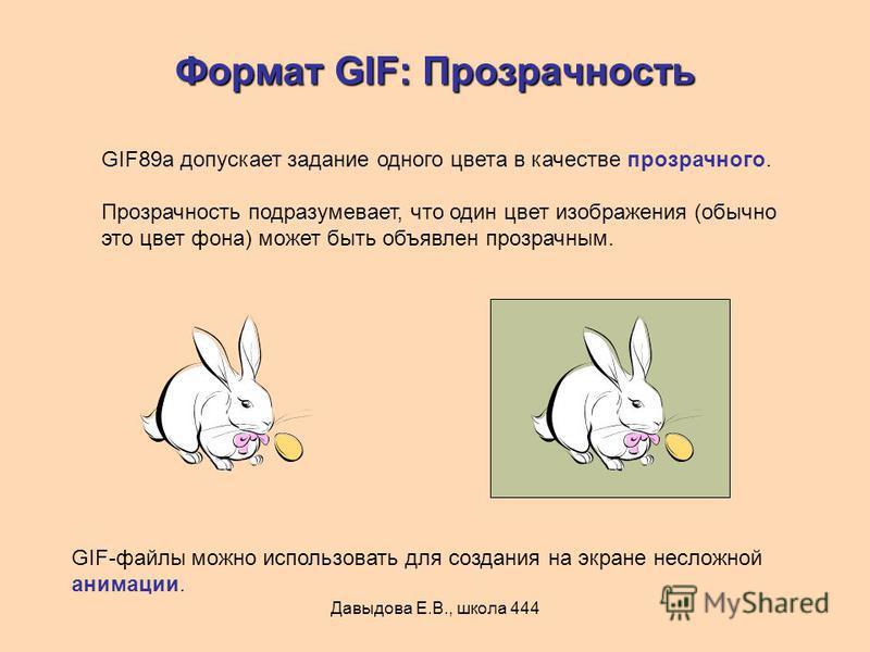 Давыдова Е.В., школа 444 Формат GIF: Прозрачность GIF89a допускает задание одного цвета в качестве прозрачного. Прозрачность подразумевает, что один цвет изображения (обычно это цвет фона) может быть объявлен прозрачным. GIF-файлы можно использовать