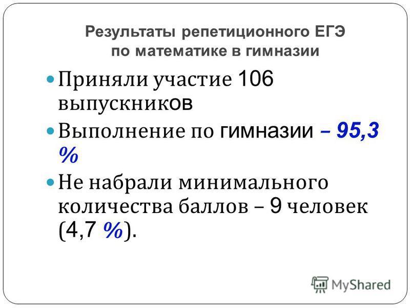 Приняли участие 106 выпускник ов Выполнение по гимназии – 95,3 % Не набрали минимального количества баллов – 9 человек ( 4,7 %). Результаты репетиционного ЕГЭ по математике в гимназии