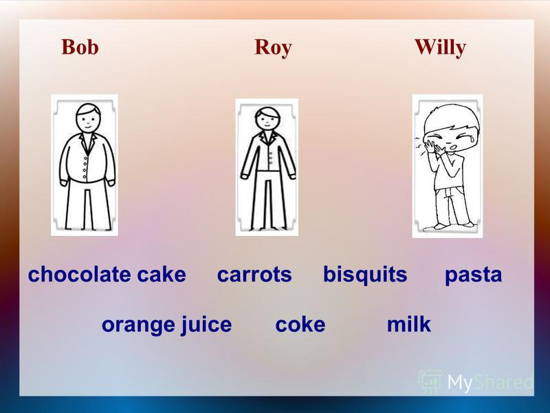 Bob Roy Willy chocolate cake carrots bisquits pasta orange juice coke milk