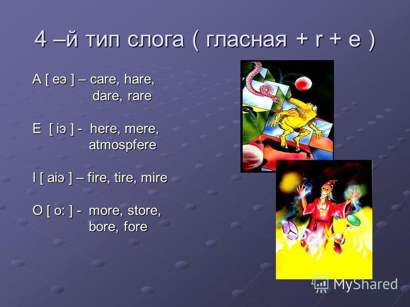 4 –й тип слога ( гласная + r + e ) A [ eэ ] – care, hare, A [ eэ ] – care, hare, dare, rare dare, rare E [ iэ ] - here, mere, E [ iэ ] - here, mere, atmospfere atmospfere I [ aiэ ] – fire, tire, mire I [ aiэ ] – fire, tire, mire O [ o: ] - more, stor