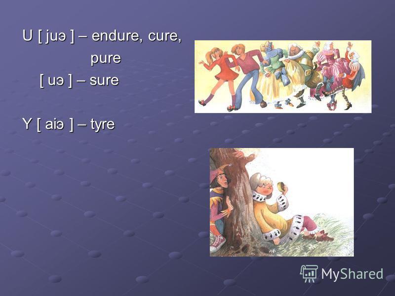 U [ juэ ] – endure, cure, U [ juэ ] – endure, cure, pure pure [ uэ ] – sure [ uэ ] – sure Y [ aiэ ] – tyre Y [ aiэ ] – tyre
