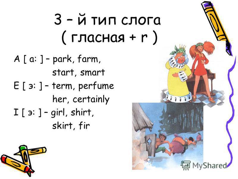 3 – й тип слога ( гласная + r ) A [ a: ] – park, farm, start, smart E [ э: ] – term, perfume her, certainly I [ э: ] – girl, shirt, skirt, fir