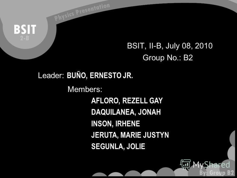 BSIT, II-B, July 08, 2010 Group No.: B2 Leader: BUÑO, ERNESTO JR. Members: AFLORO, REZELL GAY DAQUILANEA, JONAH INSON, IRHENE JERUTA, MARIE JUSTYN SEGUNLA, JOLIE