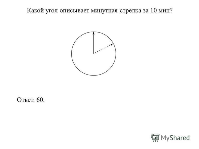Какой угол описывает минутная стрелка за 10 мин? Ответ. 60.