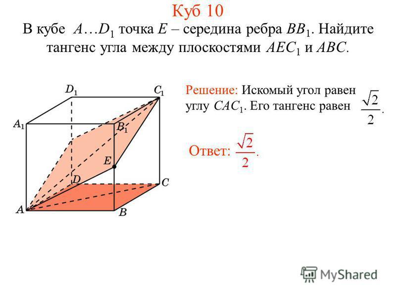В кубе A…D 1 точка E – середина ребра BB 1. Найдите тангенс угла между плоскостями AEC 1 и ABC. Куб 10 Решение: Искомый угол равен углу CAC 1. Его тангенс равен Ответ: