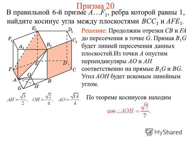 В правильной 6-й призме A…F 1, ребра которой равны 1, найдите косинус угла между плоскостями BCC 1 и AFE 1. Призма 20 Решение: Продолжим отрезки CB и FA до пересечения в точке G. Прямая B 1 G будет линией пересечения данных плоскостей.Из точки A опус