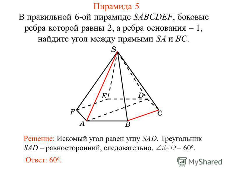 В правильной 6-ой пирамиде SABCDEF, боковые ребра которой равны 2, а ребра основания – 1, найдите угол между прямыми SA и BC. Ответ: 60 о. Решение: Искомый угол равен углу SAD. Треугольник SAD – равносторонний, следовательно, = 60 о. Пирамида 5