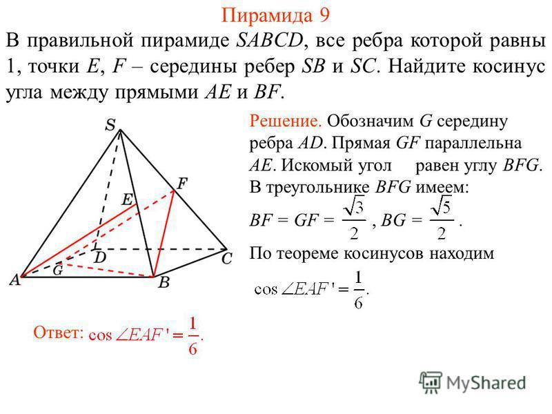 В правильной пирамиде SABCD, все ребра которой равны 1, точки E, F – середины ребер SB и SC. Найдите косинус угла между прямыми AE и BF. Пирамида 9 Ответ: Решение. Обозначим G середину ребра AD. Прямая GF параллельна AE. Искомый угол равен углу BFG.