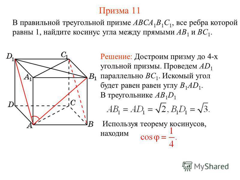 В правильной треугольной призме ABCA 1 B 1 C 1, все ребра которой равны 1, найдите косинус угла между прямыми AB 1 и BC 1. Решение: Достроим призму до 4-х угольной призмы. Проведем AD 1 параллельно BC 1. Искомый угол будет равен равен углу B 1 AD 1.
