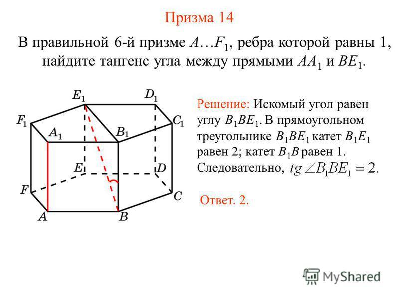 В правильной 6-й призме A…F 1, ребра которой равны 1, найдите тангенс угла между прямыми AA 1 и BE 1. Призма 14 Решение: Искомый угол равен углу B 1 BE 1. В прямоугольном треугольнике B 1 BE 1 катет B 1 E 1 равен 2; катет B 1 B равен 1. Следовательно