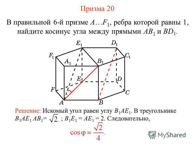 В правильной 6-й призме A…F 1, ребра которой равны 1, найдите косинус угла между прямыми AB 1 и BD 1. Решение: Искомый угол равен углу B 1 AE 1. В треугольнике B 1 AE 1 AB 1 = ; B 1 E 1 = AE 1 = 2. Следовательно, Призма 20