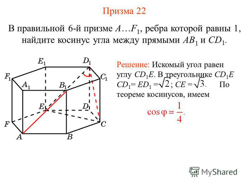 В правильной 6-й призме A…F 1, ребра которой равны 1, найдите косинус угла между прямыми AB 1 и CD 1. Решение: Искомый угол равен углу CD 1 E. В треугольнике CD 1 E CD 1 = ED 1 = ; CE = По теореме косинусов, имеем Призма 22