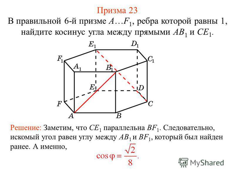 В правильной 6-й призме A…F 1, ребра которой равны 1, найдите косинус угла между прямыми AB 1 и CE 1. Решение: Заметим, что CE 1 параллельна BF 1. Следовательно, искомый угол равен углу между AB 1 и BF 1, который был найден ранее. А именно, Призма 23