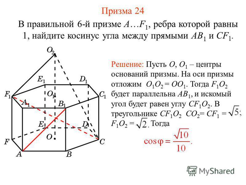 В правильной 6-й призме A…F 1, ребра которой равны 1, найдите косинус угла между прямыми AB 1 и CF 1. Решение: Пусть O, O 1 – центры оснований призмы. На оси призмы отложим O 1 O 2 = OO 1. Тогда F 1 O 2 будет параллельна AB 1, и искомый угол будет ра