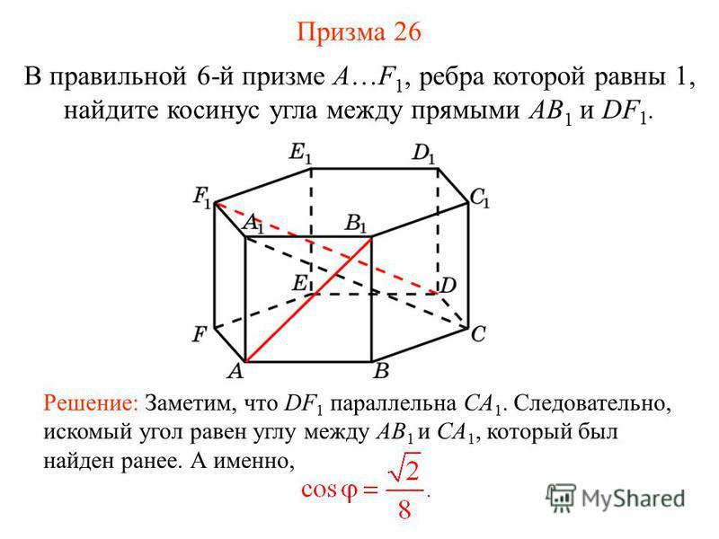 В правильной 6-й призме A…F 1, ребра которой равны 1, найдите косинус угла между прямыми AB 1 и DF 1. Решение: Заметим, что DF 1 параллельна CA 1. Следовательно, искомый угол равен углу между AB 1 и CA 1, который был найден ранее. А именно, Призма 26