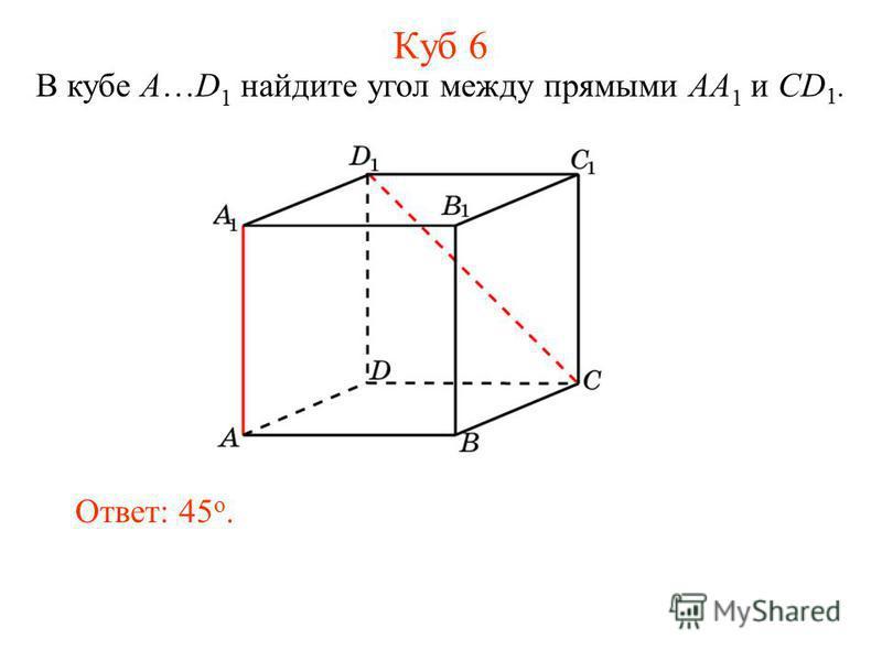 В кубе A…D 1 найдите угол между прямыми AA 1 и CD 1. Ответ: 45 o. Куб 6