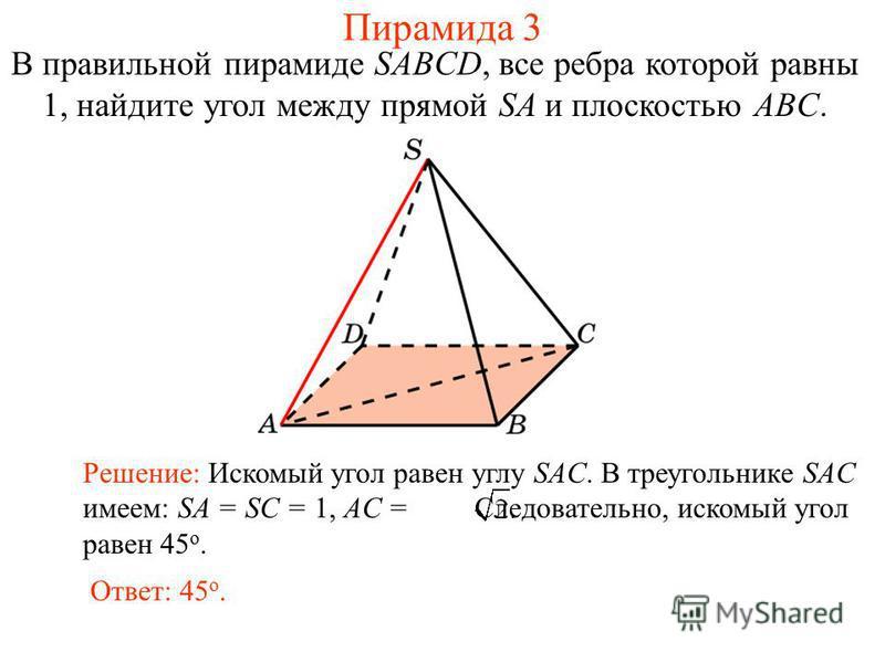В правильной пирамиде SABCD, все ребра которой равны 1, найдите угол между прямой SA и плоскостью ABC. Ответ: 45 о. Решение: Искомый угол равен углу SAC. В треугольнике SAC имеем: SA = SC = 1, AC = Следовательно, искомый угол равен 45 о. Пирамида 3