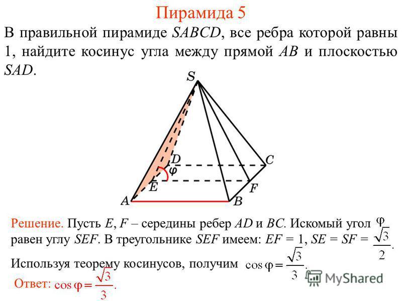 В правильной пирамиде SABCD, все ребра которой равны 1, найдите косинус угла между прямой AB и плоскостью SAD. Ответ: Решение. Пусть E, F – середины ребер AD и BC. Искомый угол равен углу SEF. В треугольнике SEF имеем: EF = 1, SE = SF = Используя тео