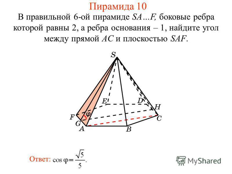 В правильной 6-ой пирамиде SA…F, боковые ребра которой равны 2, а ребра основания – 1, найдите угол между прямой AC и плоскостью SAF. Ответ: Пирамида 10