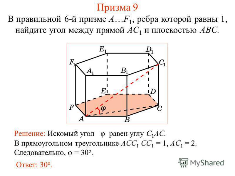 В правильной 6-й призме A…F 1, ребра которой равны 1, найдите угол между прямой AC 1 и плоскостью ABC. Решение: Искомый угол φ равен углу C 1 AC. Ответ: 30 о. В прямоугольном треугольнике ACC 1 CC 1 = 1, AC 1 = 2. Следовательно, φ = 30 о. Призма 9