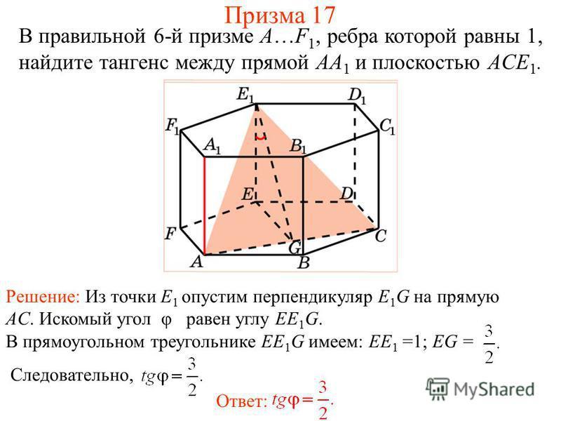 В правильной 6-й призме A…F 1, ребра которой равны 1, найдите тангенс между прямой AA 1 и плоскостью ACE 1. Решение: Из точки E 1 опустим перпендикуляр E 1 G на прямую AC. Искомый угол φ равен углу EE 1 G. В прямоугольном треугольнике EE 1 G имеем: E