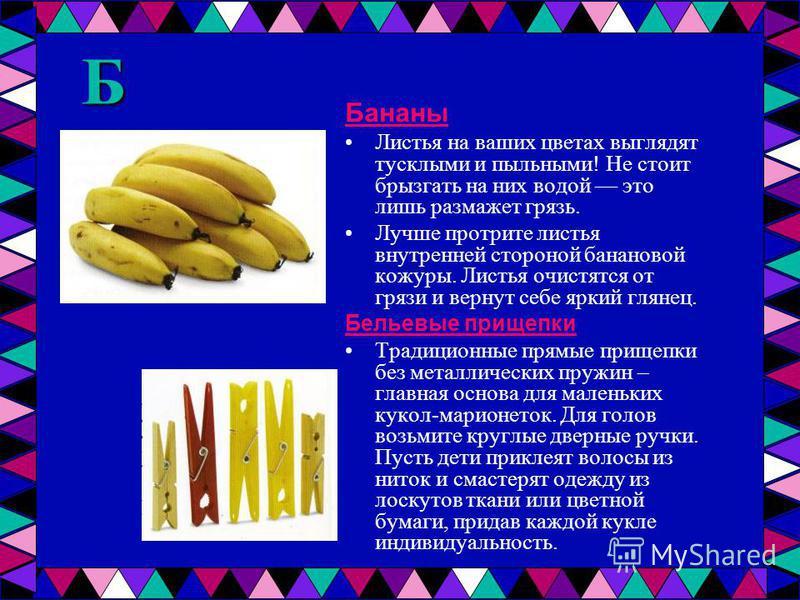Б Бананы Листья на ваших цветах выглядят тусклыми и пыльными! Не стоит брызгать на них водой это лишь размажет грязь. Лучше протрите листья внутренней стороной банановой кожуры. Листья очистятся от грязи и вернут себе яркий глянец. Бельевые прищепки