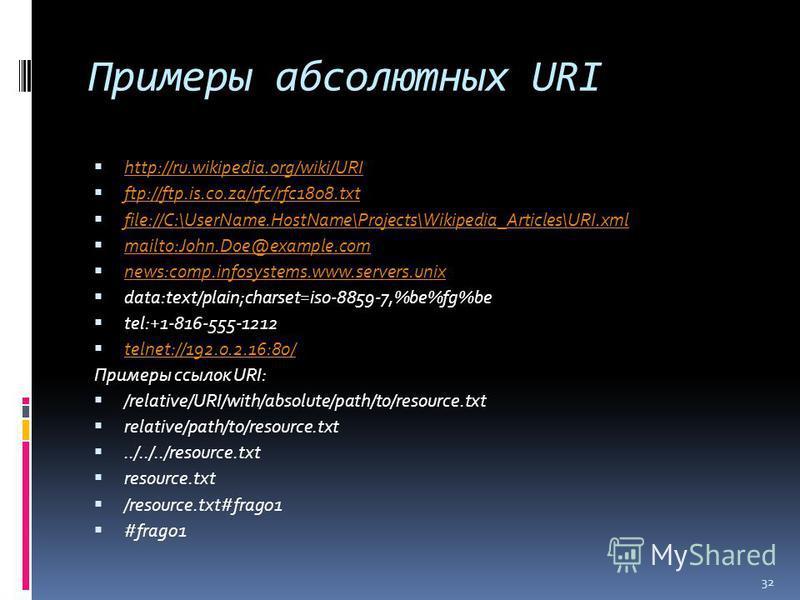 Примеры абсолютных URI http://ru.wikipedia.org/wiki/URI ftp://ftp.is.co.za/rfc/rfc1808. txt file://C:\UserName.HostName\Projects\Wikipedia_Articles\URI.xml mailto:John.Doe@example.com news:comp.infosystems.www.servers.unix data:text/plain;charset=iso