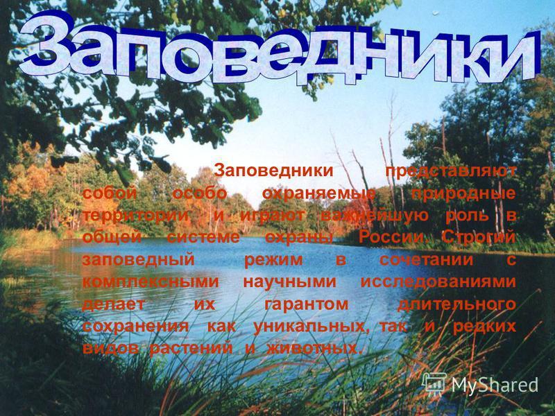 Заповедники представляют собой особо охраняемые природные территории и играют важнейшую роль в общей системе охраны России. Строгий заповедный режим в сочетании с комплексными научными исследованиями делает их гарантом длительного сохранения как уник