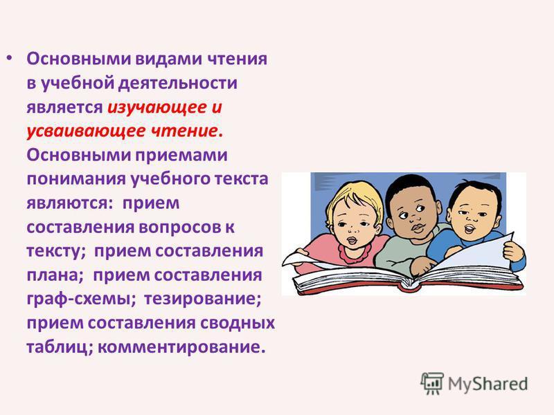 Основными видами чтения в учебной деятельности является изучающее и усваивающее чтение. Основными приемами понимания учебного текста являются: прием составления вопросов к тексту; прием составления плана; прием составления граф-схемы; тезирование; пр
