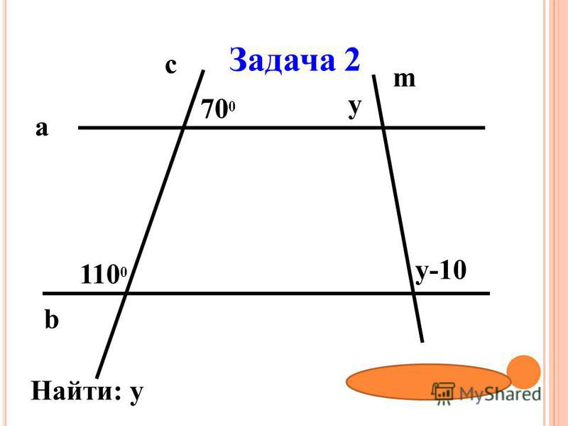 Задача 2 b a c m 700700 у-10 у 11001100 Найти: у Ответ: 95 0
