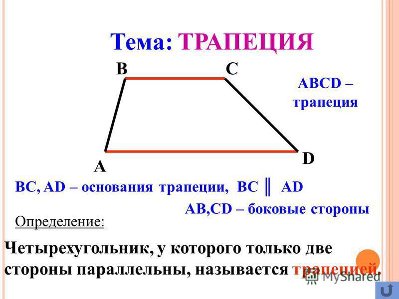 Определение: Четырехугольник, у которого только две стороны параллельны, называется трапецией. A BC D ABCD – трапеция BC, AD – основания трапеции, ВС АD AB,CD – боковые стороны Тема: ТРАПЕЦИЯ