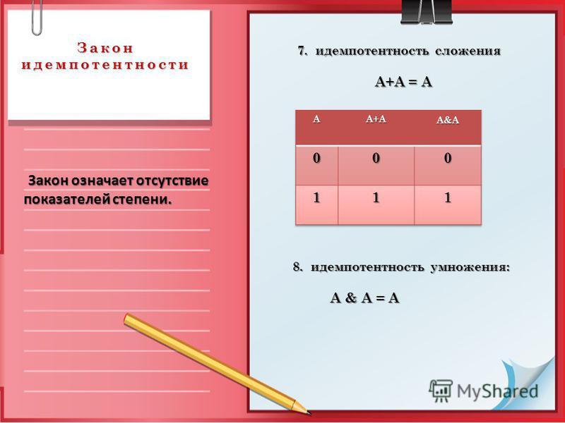 Закон идемпотентности 7. идемпотентность сложения A+А = A A+А = A 8. идемпотентность умножения: 8. идемпотентность умножения: A & А = A A & А = A Закон означает отсутствие показателей степени. Закон означает отсутствие показателей степени.