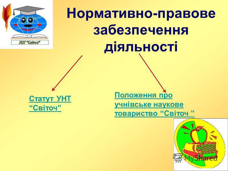 Нормативно-правове забезпечення діяльності Статут УНТ Світоч Положення про учнівське наукове товариство Світоч