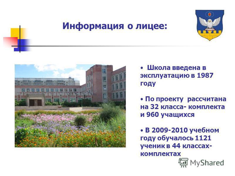 Информация о лицее: Школа введена в эксплуатацию в 1987 году По проекту рассчитана на 32 класса- комплекта и 960 учащихся В 2009-2010 учебном году обучалось 1121 ученик в 44 классах- комплектах