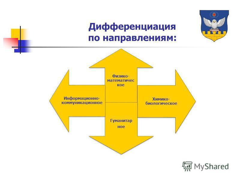 Физико- математическое Химико- биологическое Гуманитар ное Информационно- коммуникационное Дифференциация по направлениям: