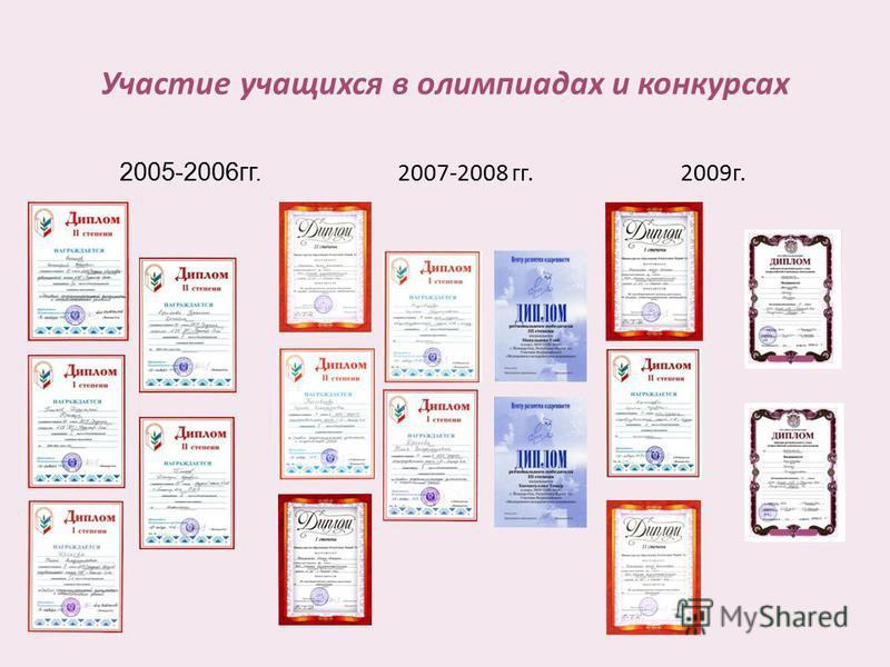 Участие учащихся в олимпиадах и конкурсах 2005-2006 гг. 2007-2008 гг. 2009 г.