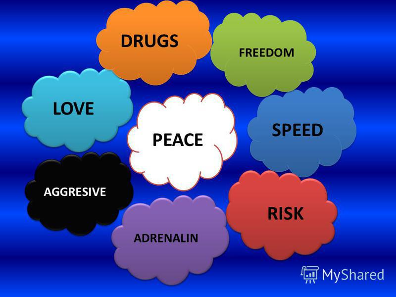 LOVE PEACE DRUGS SPEED RISK ADRENALIN FREEDOM AGGRESIVE
