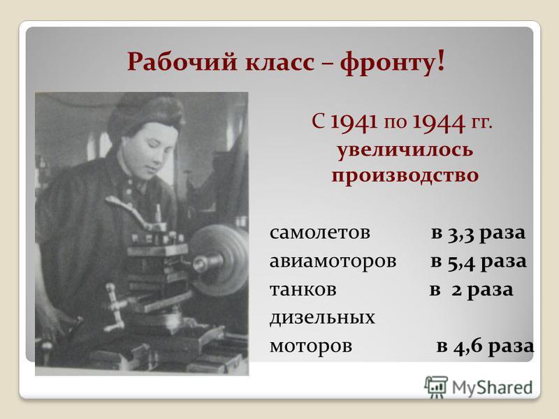 Рабочий класс – фронту ! С 1941 по 1944 гг. увеличилось производство самолетов в 3,3 раза авиамоторов в 5,4 раза танков в 2 раза дизельных моторов в 4,6 раза