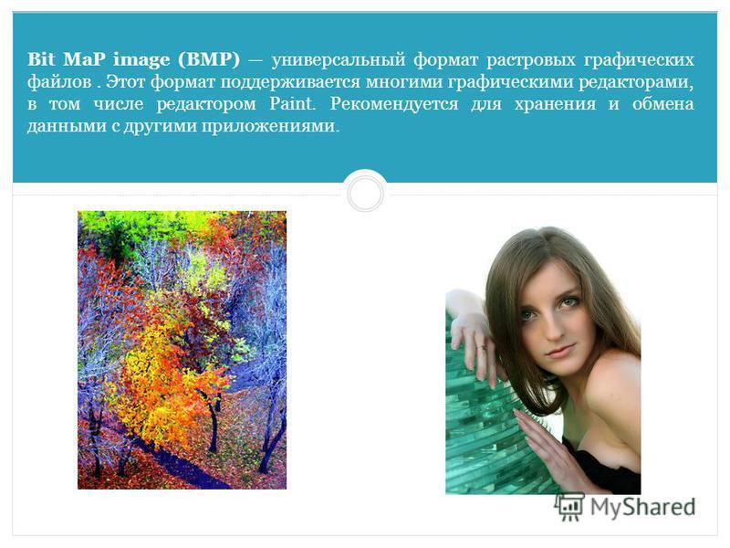 Bit MaP image (BMP) универсальный формат растровых графических файлов. Этот формат поддерживается многими графическими редакторами, в том числе редактором Paint. Рекомендуется для хранения и обмена данными с другими приложениями.