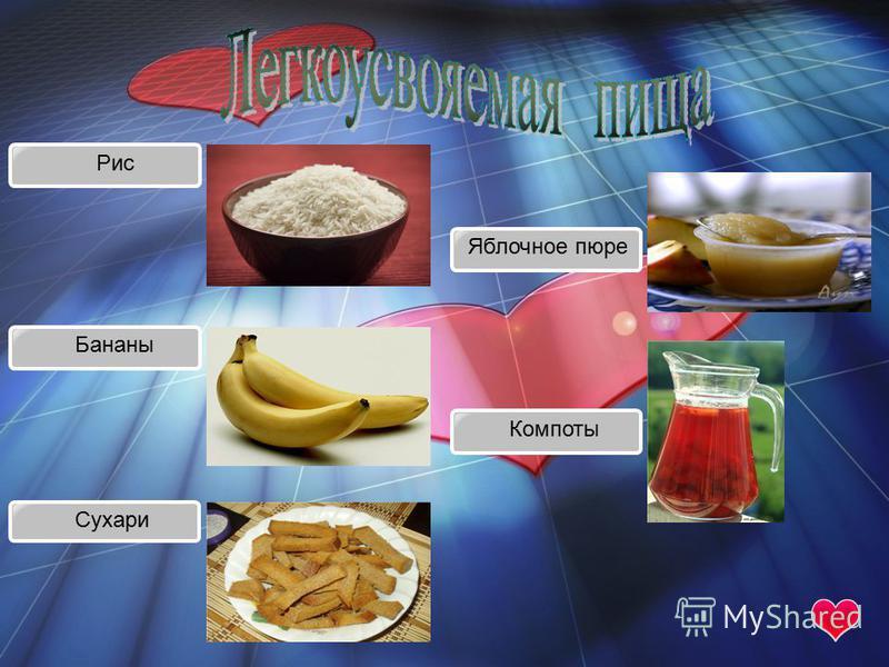 Рис Бананы Сухари Яблочное пюре Компоты