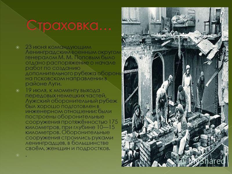 23 июня командующим Ленинградским военным округом генералом М. М. Поповым было отдано распоряжение о начале работ по созданию дополнительного рубежа обороны на псковском направлении в районе Луги. 19 июля, к моменту выхода передовых немецких частей,
