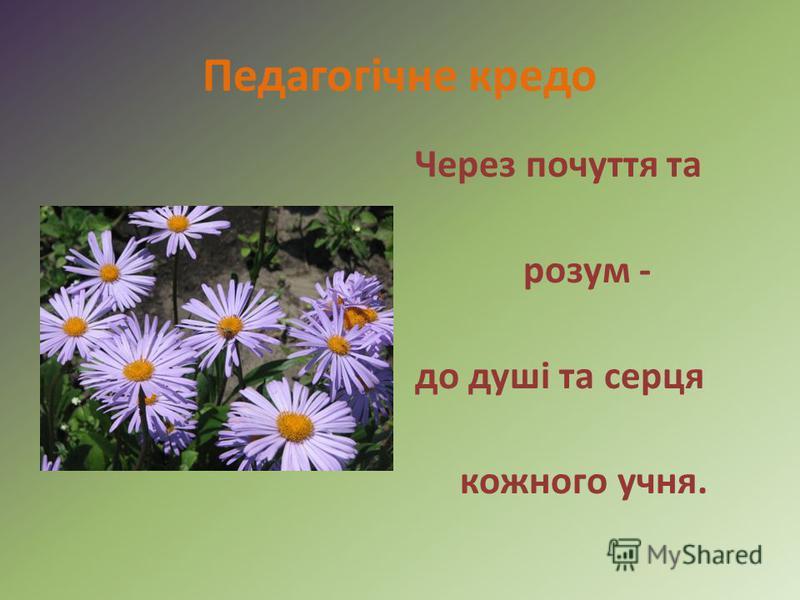 Педагогічне кредо Через почуття та розум - до душі та серця кожного учня.
