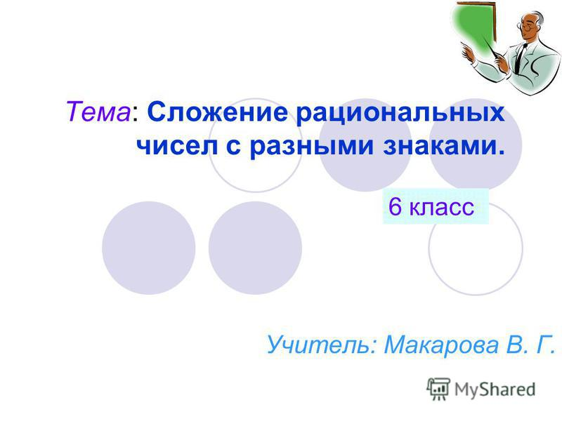 Тема: Сложение рациональных чисел с разными знаками. Учитель: Макарова В. Г. 6 класс
