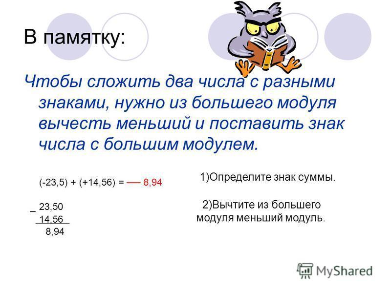 В памятку: Чтобы сложить два числа с разными знаками, нужно из большего модуля вычесть меньший и поставить знак числа с большим модулем. (-23,5) + (+14,56) = 8,94 23,50_ 14,56 8,94 1)Определите знак суммы. 2)Вычтите из большего модуля меньший модуль.