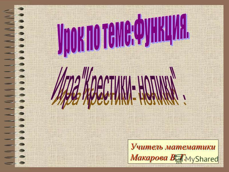 Учитель математики Макарова В. Г.