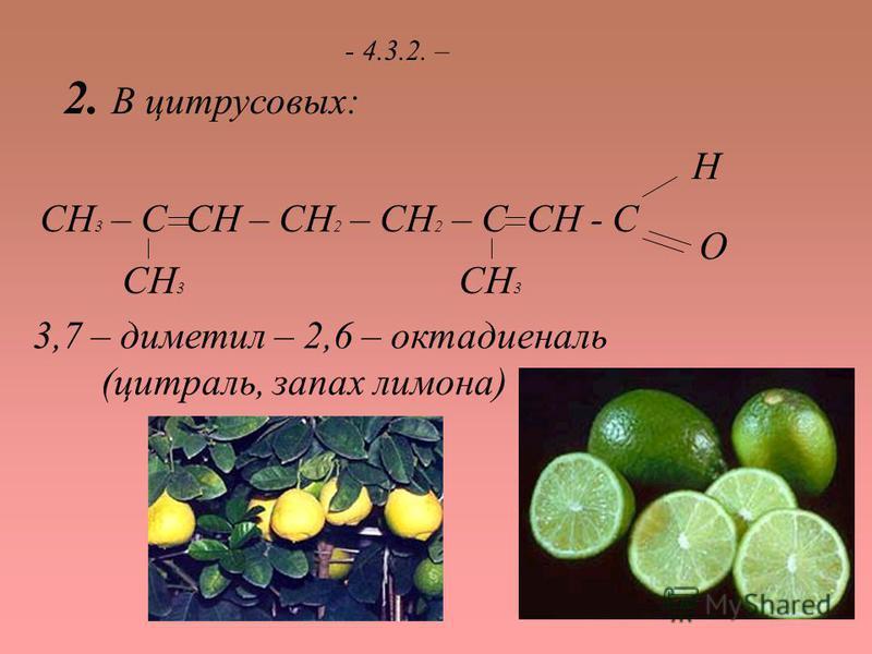 - 4.3.2. – 2. В цитрусовых: СН 3 – С СН – СН 2 – СН 2 – С СН - С СН 3 О Н 3,7 – диметил – 2,6 – октадиеналь (цитраль, запах лимона)