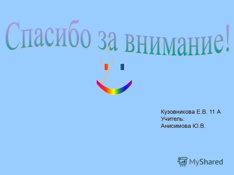 Кузовникова Е.В. 11 А Учитель: Анисимова Ю.В.