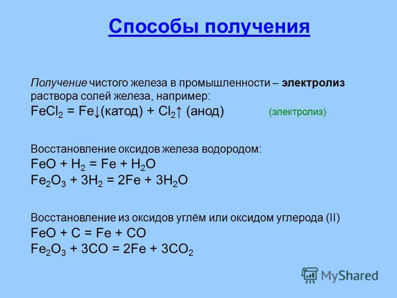 Получение чистого железа в промышленности – электролиз раствора солей железа, например: FeCl 2 = Fе(катод) + Cl 2 (анод) (электролиз) Восстановление оксидов железа водородом: FeO + H 2 = Fe + H 2 O Fe 2 O 3 + 3H 2 = 2Fe + 3H 2 O Восстановление из окс