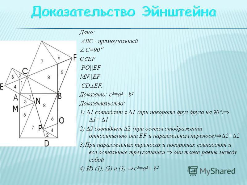 Дано: ABC - прямоугольный С=90 С EF PO||EF MN||EF CD EF. Доказать: c²=a²+ b² Доказательство: 1) Δ1 совпадает с Δ1 (при повороте друг друга на 90°) Δ1= Δ1 2) Δ2 совпадает Δ2 (при осевом отображении относительно оси EF и параллельном переносе) Δ2=Δ2 3)